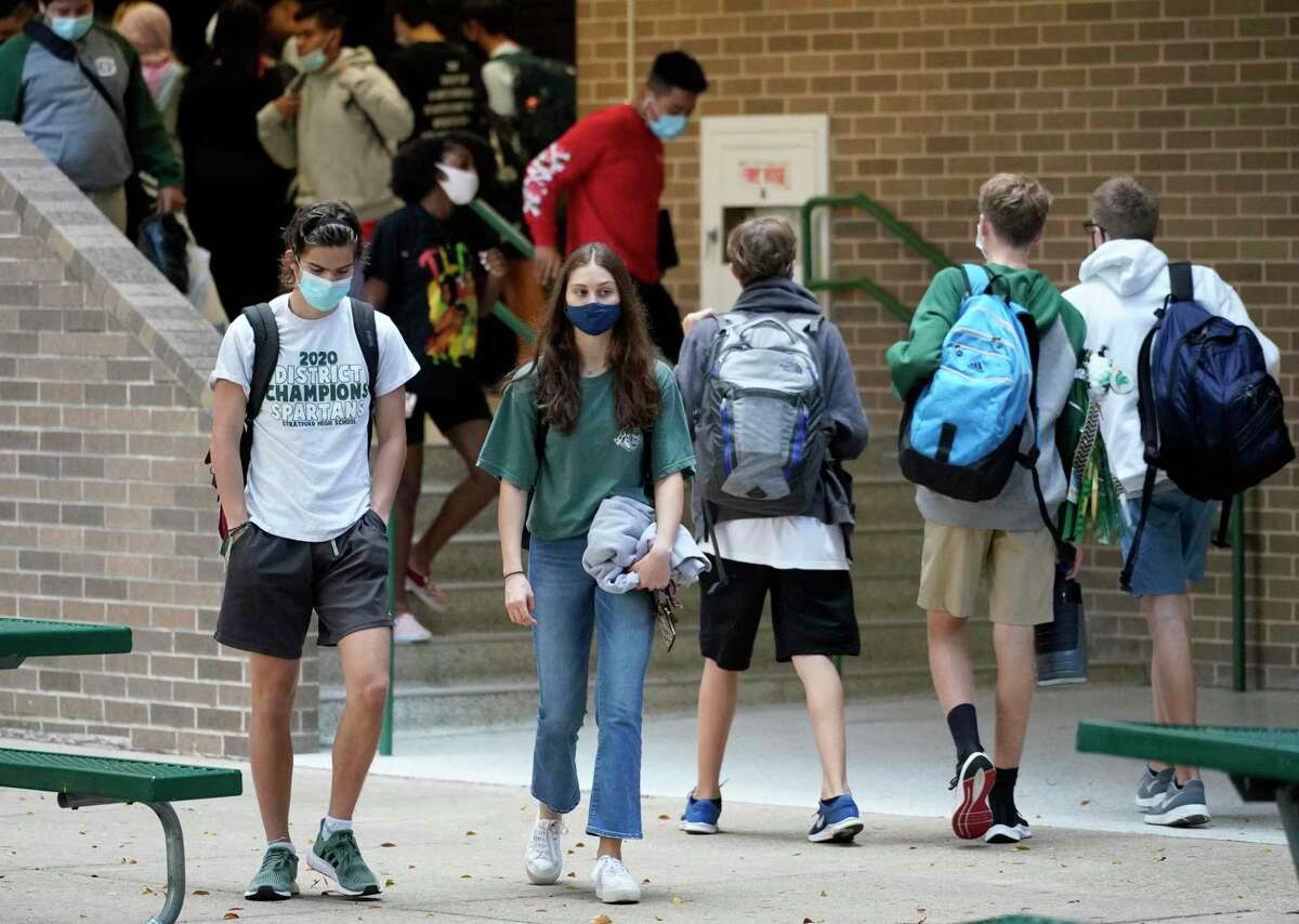 Students are shown at Stratford High School on Oct. 23, 2020. Spring Branch ISD has had a mask mandate for the entire school year which will be lifted on June 1 after the Board of Trustees decided against lifting the mask mandate early