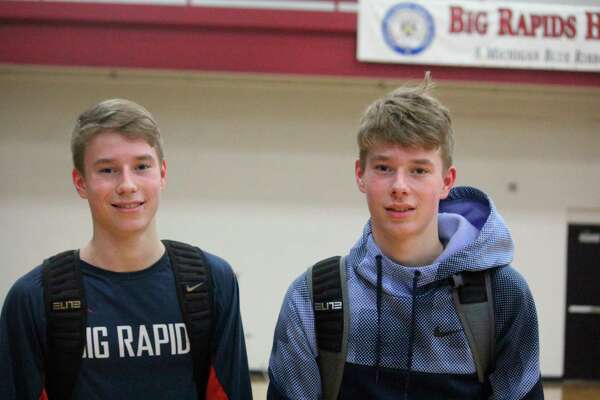 Twin brothers Dawson (left) and Mason Dunn have made major contributions to the Big Rapids basketball attack this season. (Pioneer photo/John Raffel)