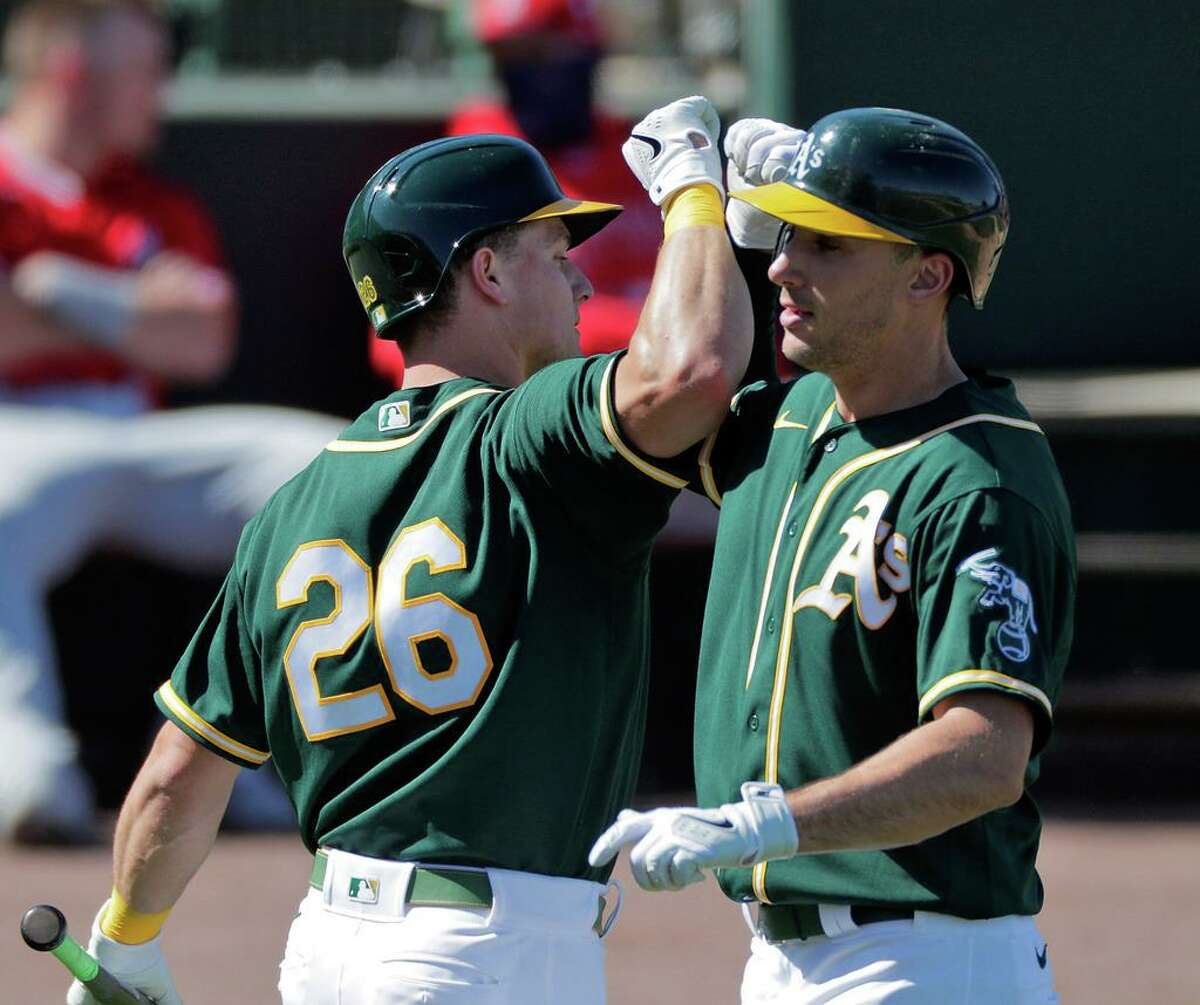 The A's cornerstone infielders - Matt Chapman, left, and Matt Olson - are hoping to put 2020 behind them. Olson had 14 home runs, but hit only .195 and Chapman underwent hip surgery after playing in only 37 games.