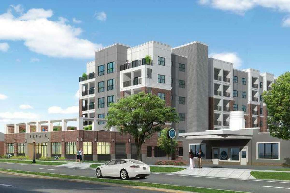 An artist's rendering of a the149-apartment complex, Brookview Commons II, in downtown Danbury. The view is from Main Street, looking north.