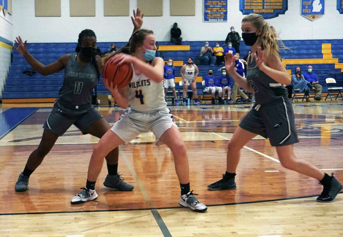 Evart sophomore Skylar Baumgardner protects the ball while being defended by Pine River junior CorNesha Holmes and sophomore Amanda Hill during Friday night's game. (Pioneer photo/Joe Judd)