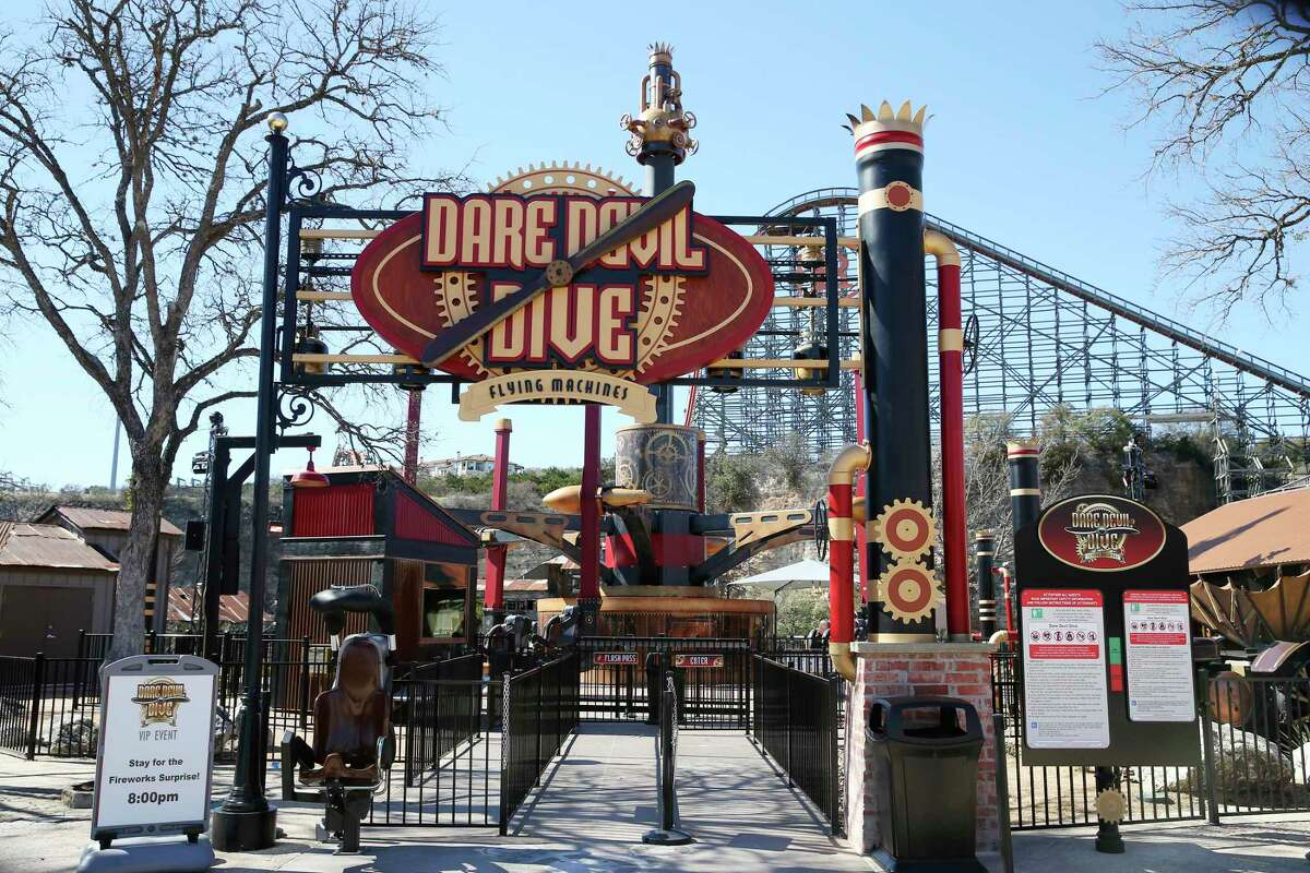 Six Flags Fiesta Texas is introducing its new ride, the Steampunk-inspired ride Dare Devil Dive Flying Machines, on Saturday, March 6, 2021.