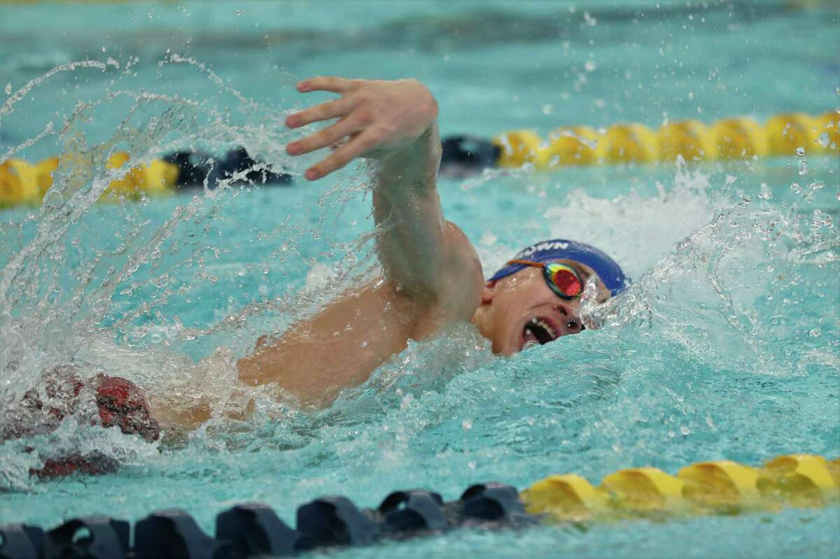 FBCA's Harrison Brown plows through the water during the 400-yard freestyle relay race at the recent TAPPS state meet.
