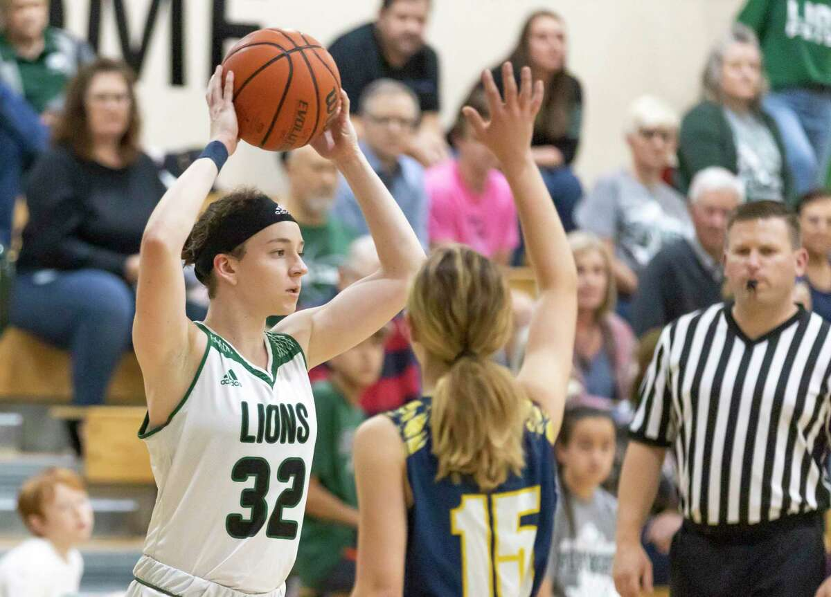 Legacy Preparatory Christian Academy guard Mary Wittmer (32), shown here earlier this week against Westbury Christian, scored five points Friday night against San Antonio Lutheran.