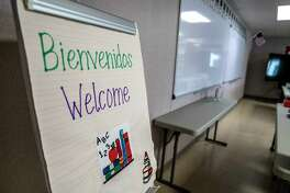 A classroom at an influx-care facility in Carrizo Springs, Texas, for migrant teenagers and children who arrive in the United States without their parents.