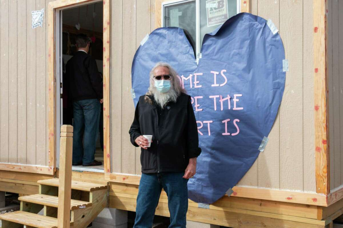 Kingwood Park High School's tiny home is 200 square feet with modern designs with indoor and outdoor living spaces, heating and air conditioning going to U.S. Air Force veteran Jeffery Jacobs.