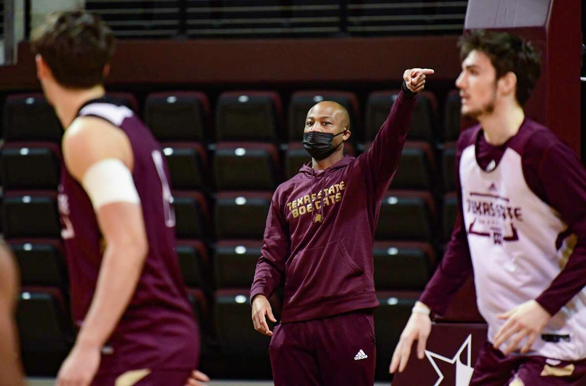 Coach Terrence Johnson has led the Texas State Bobcats to a No. 1 seed in the Sun Belt Conference tourney this weekend. He guides the team's practice at Strahan Arena on Wednesday, March 3, 2021.