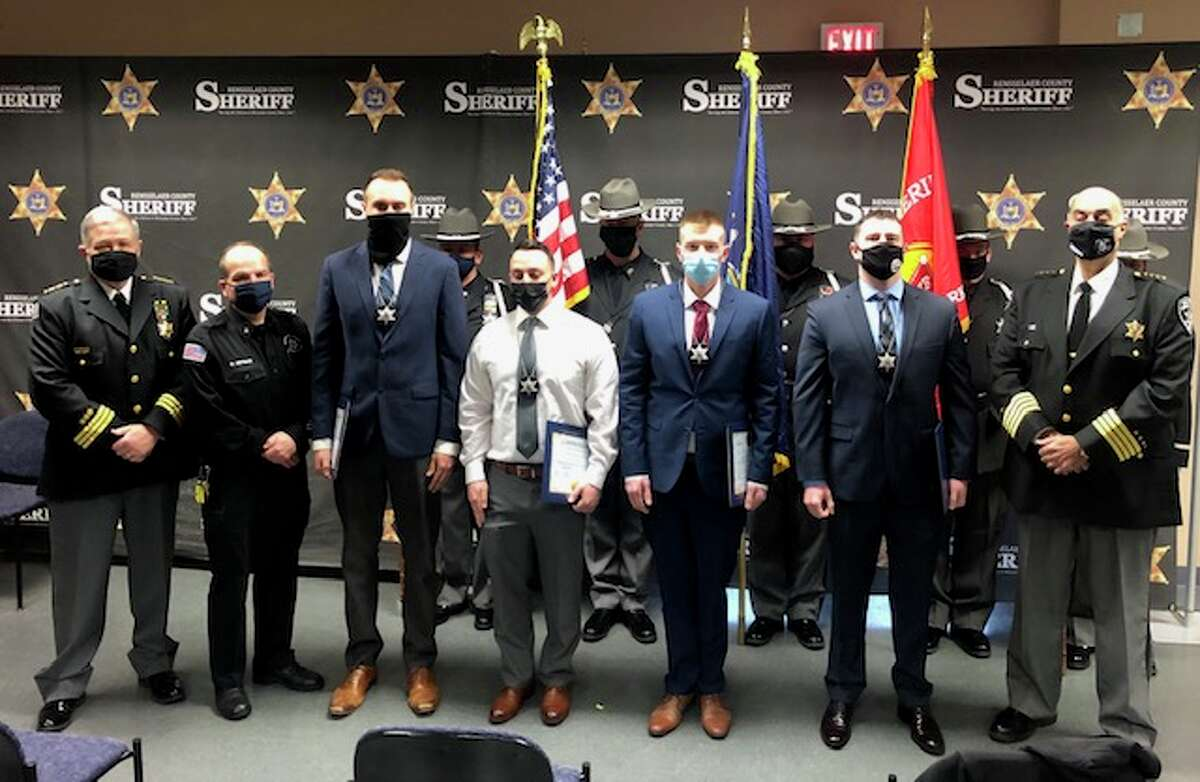 Rensselaer County Sheriff Patrick Russo swore in four new correctional officers recently: Collin Brooking of Troy, a College of Saint Rose graduate, Demetrio Carbonaro of Troy, a SUNY Plattsburgh graduate, Robert Griffith of Schodack Landing, A Ravena-Coeymans-Selkirk graduate and Connor Terry of Rensselaer, a SUNY Geneseo gradaute.