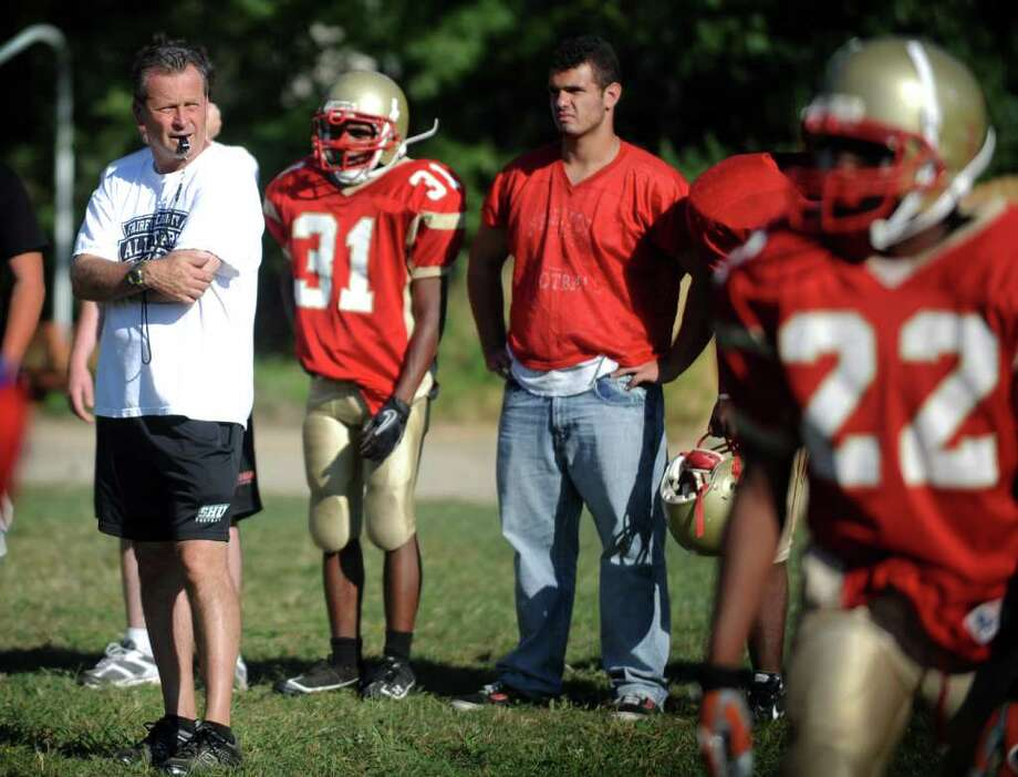 Stratford High School Head Football Coach John Svatik leads practice Wednesday September 8, 2010 at Penders Field in Stratford. Photo: Autumn Driscoll / Connecticut Post