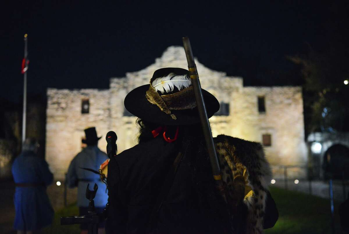 """Ricky Reyes leads a Native American blessing during the ceremony. A plan to """"re-imagine"""" Alamo Plaza has failed. Committees are starting over."""