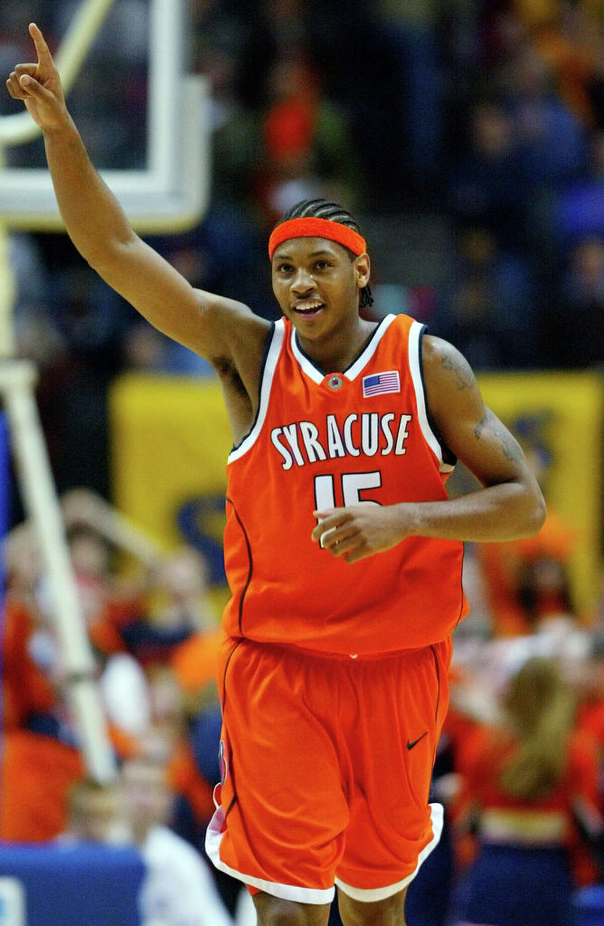 Syracuse's Carmelo Anthony reacts late in the second half to their 63-47 win over Oklahoma in the NCAA men's basketball east regional final Sunday, March 30, 2003, in Albany.