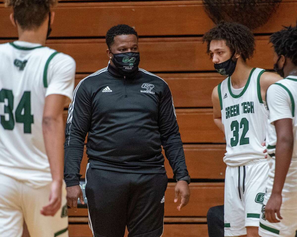 Green Tech coach DJ Jones talks to his team during a game against Mekeel Christian Academy at Green Tech in Albany, NY, on Saturday, March 6, 2021 (Jim Franco/special to the Times Union.)