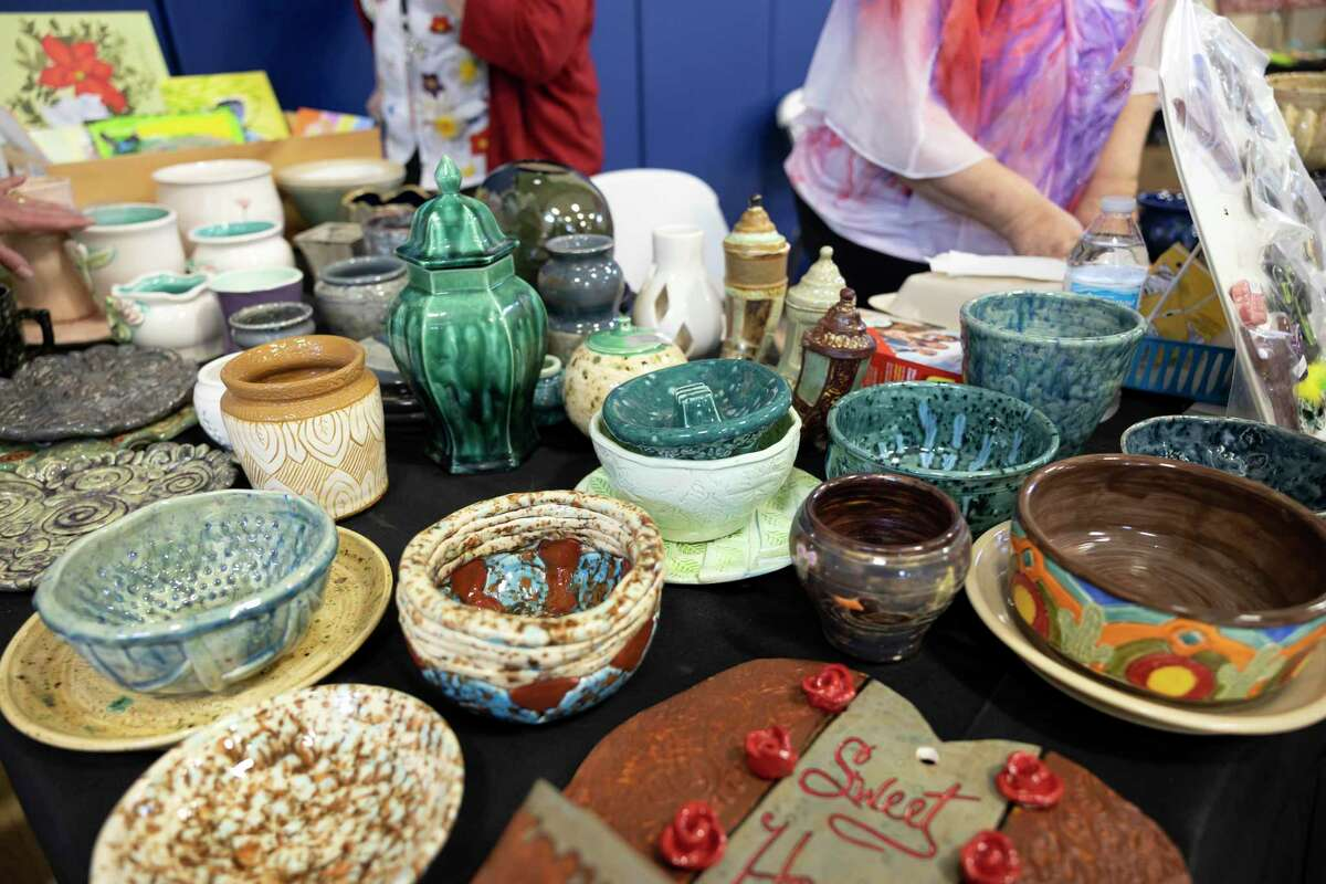 Ceramic bowls and plates are sold during the inaugural Spring Fever Craft Market, at Bridgewood Farms, Saturday, March 6, 2021, in Conroe. Bridgewood Farms plans to host another event in the fall with hopes to invite more vendors.