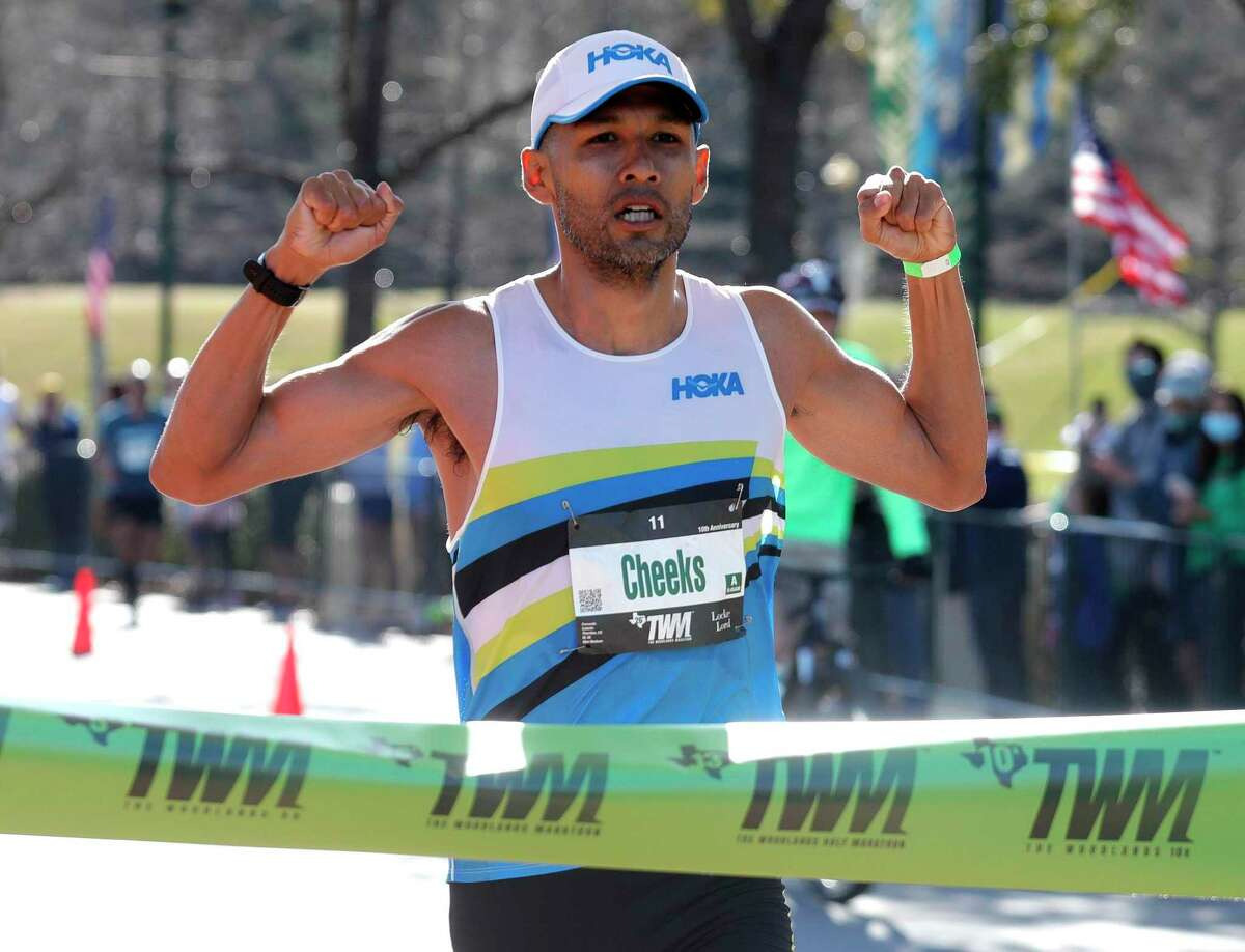 Fernando Cabada reacts after winning the men's portion of The Woodlands Marathon, Saturday, March 6, 2021, in The Woodlands.