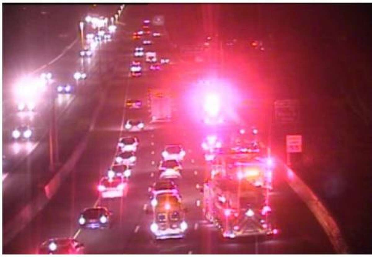FAIRFIELD, Conn. - Fire and EMS units at the scene of a rollover motor vehicle accident on I-95 South Sunday, March 6, 2021