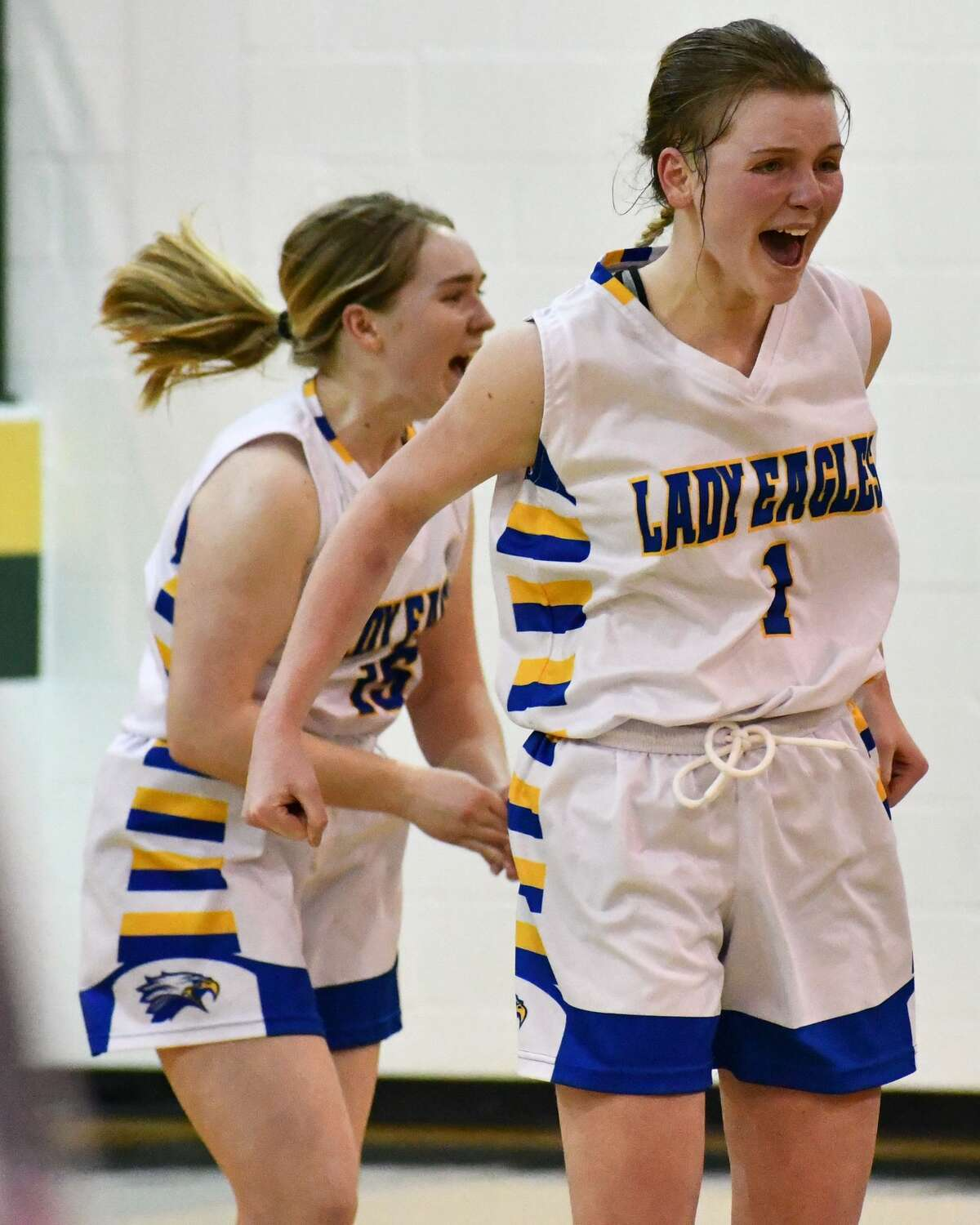 Emilee Hill (1) and Kately Morton react to the Lady Eagles punching their ticket to the state semifinals.