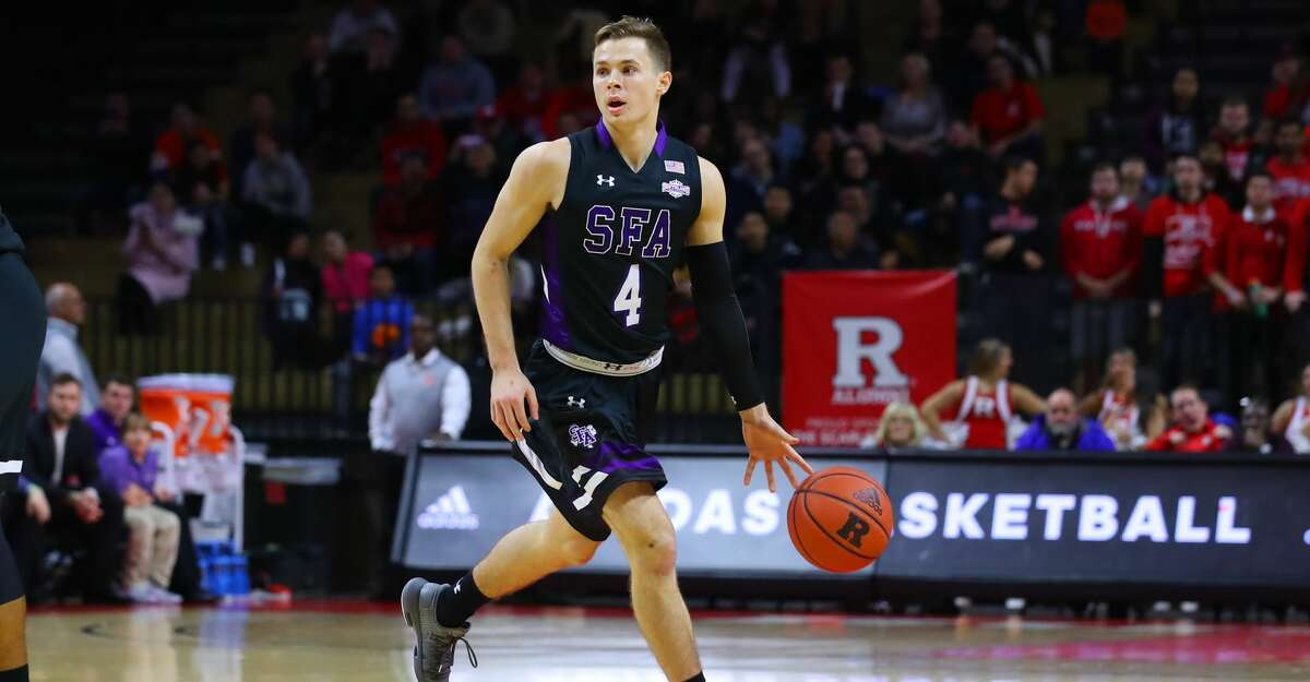 Stephen F. Austin Lumberjacks guard David Kachelries (4) during the first half of the College Basketball game between the Rutgers Scarlet Knights and the Stephen F. Austin Lumberjacks on November 20, 2019 at the Louis Brown Athletic Center in Piscataway, NJ. (Photo by Rich Graessle/Icon Sportswire via Getty Images)