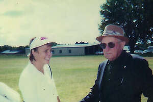 Dottie Pepper with George Pulver Sr. during a lesson in the late summer 1984 at Duffer's Den, just prior to her return to Furman University. The photo was taken by Pulver's daughter Madelyn.