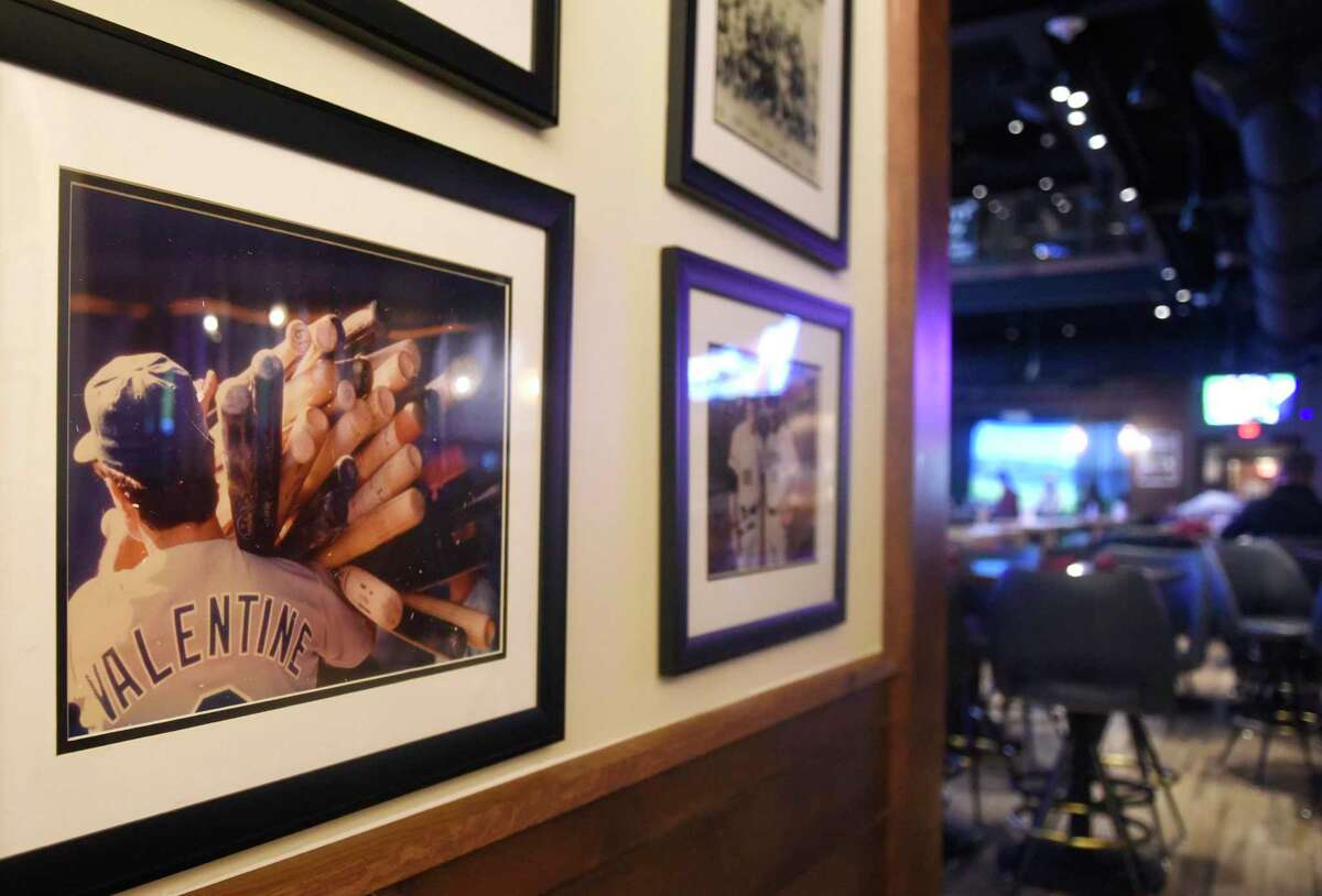 A photo of former New York Mets player and manager Bobby Valentine is displayed at his sports bar, Bobby V's, in Stamford, Conn. Thursday, Dec. 5, 2019.