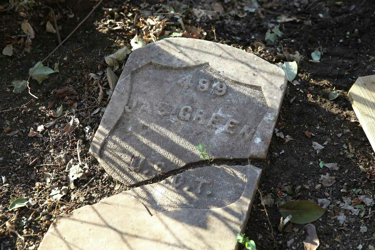 A headstone that once marked the grave of a Buffalo Soldier named James Green had cryptic engraving that took San Antonio City Archaeologist Matthew T. Elverson time and persistence to interpret. The marker was found unexpectedly as Cassell Jones cleared a corner of Tommie Hinton Jr.'s East Side backyard in December. Green's grave is at the San Antonio National Cemetery with a similar marker; he died in 1917. It's not known why this one ended up at the East Side home.