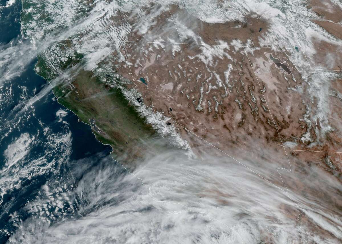 A satellite image shows little cloud cover over California on Sunday, March 7, but rain is expected to return this week to the Bay Area.