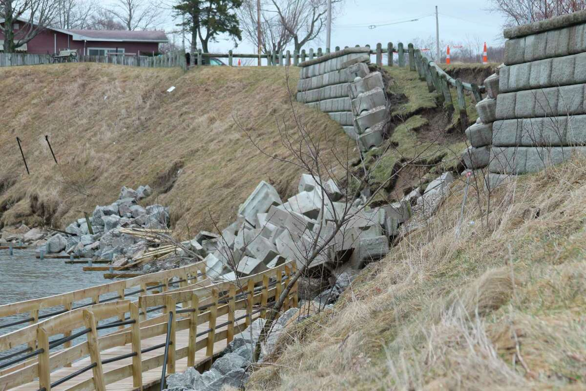 The retaining wall near a section of the Riverwalk along First Street in Manistee is scheduled to be repaired by spring or early summer. It had collapsed in March 2020.