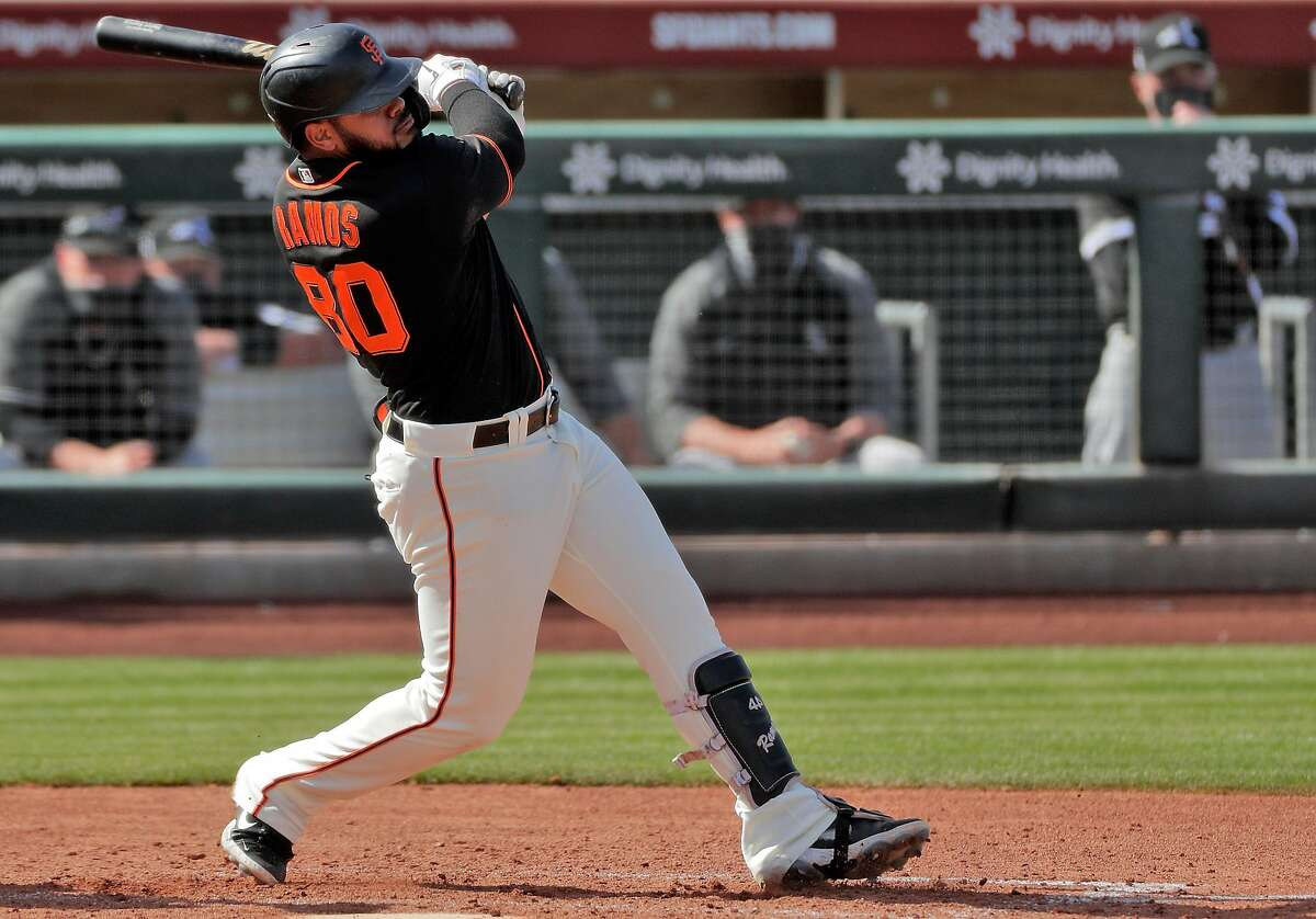 Heliot Ramos (80) of the San Francisco Giants at bat against the Chicago White So at Scottsdale stadium in Scottsdale, Ariz., on Thursday, March 4, 2021.