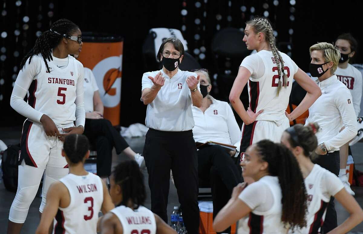 LAS VEGAS, NEVADA - MARCH 07: Head coach Tara VanDerveer of the Stanford Cardinal calls to her players as they take on the UCLA Bruins during the championship game of the Pac-12 Conference women's basketball tournament at Michelob ULTRA Arena on March 7, 2021 in Las Vegas, Nevada. (Photo by Ethan Miller/Getty Images)