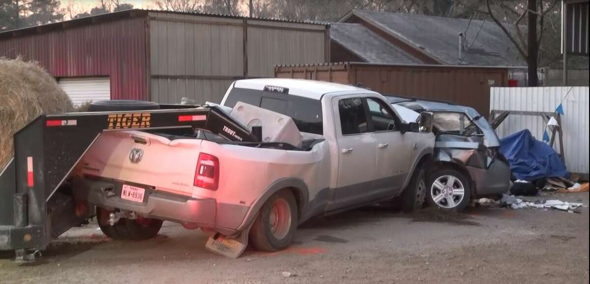 A driver died Sunday in a collision with a pickup towing a tractor in Montgomery County, authorities said.