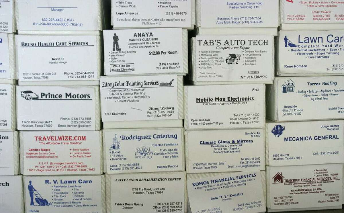 Boxes of business cards.