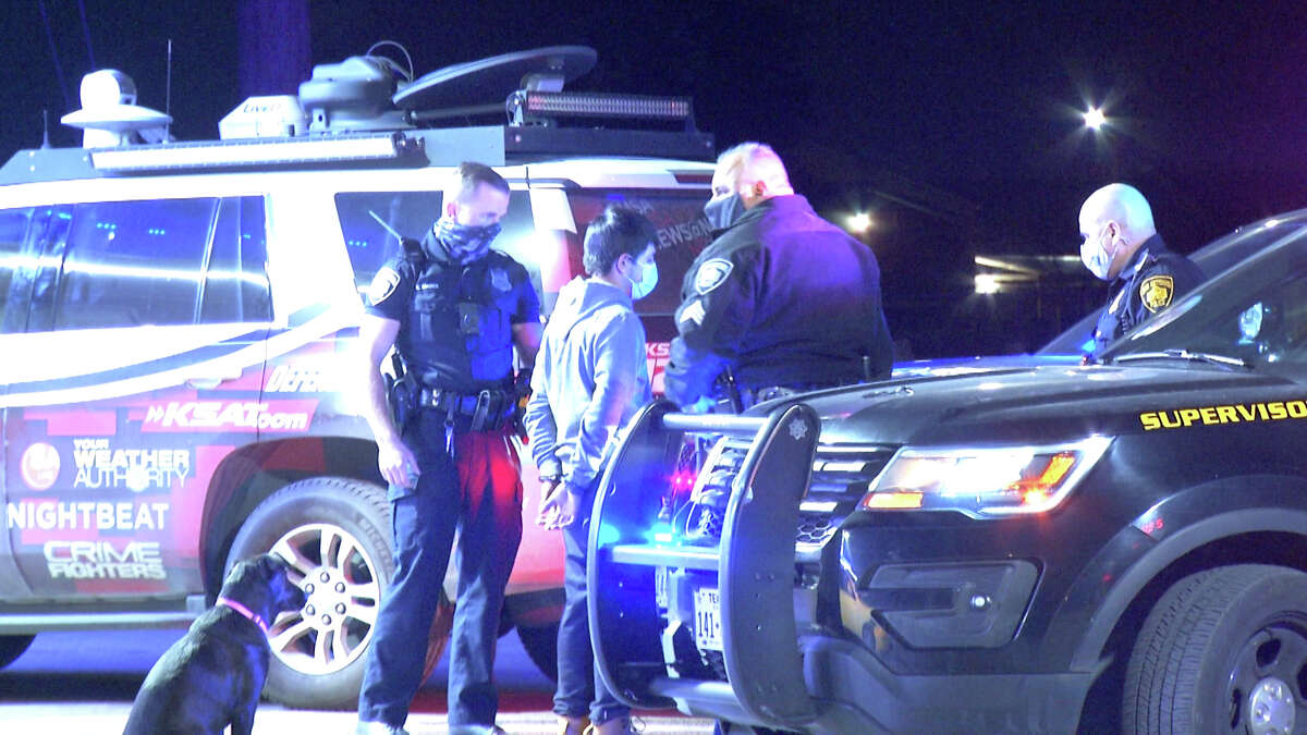 Two people were hospitalized after adomestic dispute escalated into a child abduction, shooting and a car crash Sunday night, San Antonio police said.