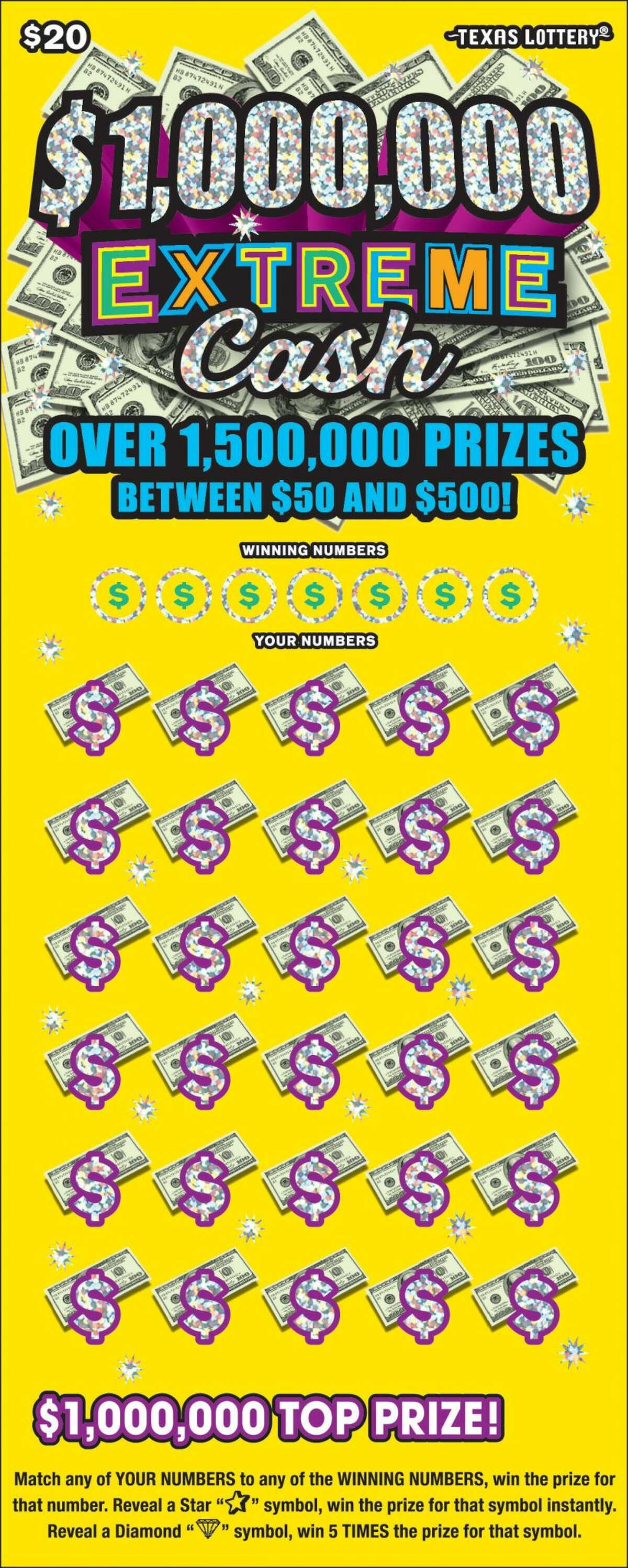 According to Texas Lottery, a resident claimed a top prize-winning ticket worth $1 million from the scratch-off game 1,000,000 Extreme Cash.