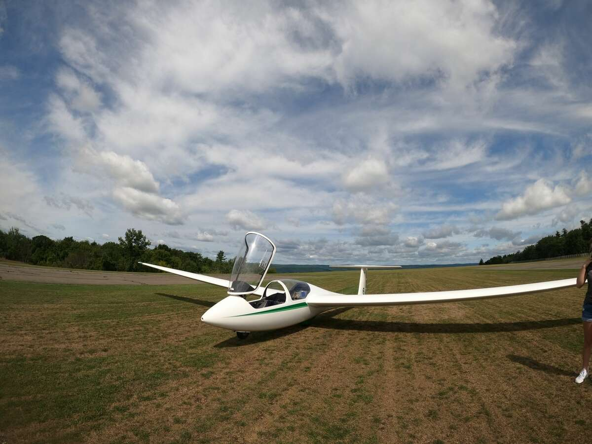 A soaring plane on the ground in Elmira.