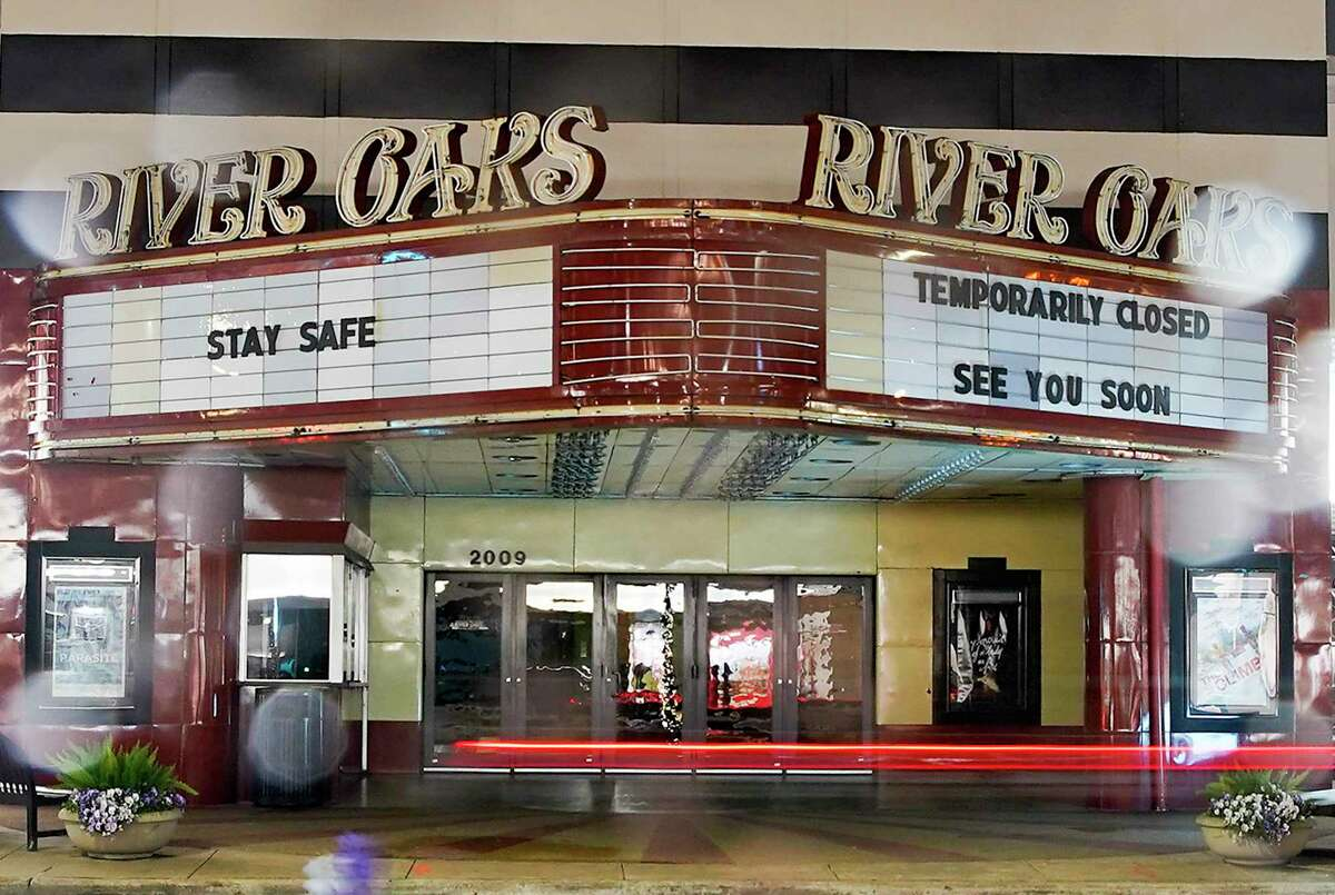 River Oaks Theater kept it's lights off but had some messages for Houstonians on Friday, March 20, 2020.