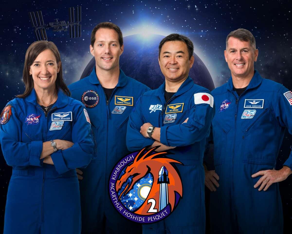 Pictured from left are NASA astronaut Megan McArthur, European Space Agency astronaut Thomas Pesquet, Japan Aerospace Exploration Agency astronaut Akihiko Hoshide and NASA astronaut Shane Kimbrough.