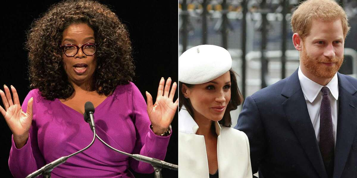(FILES)(COMBO) This combination of file pictures created on March 4, 2021 shows US TV personality Oprah Winfrey speaking on April 7, 2015 at the Warner Theater in Washington, DC, and Britain's Prince Harry (R) and his then fiancée US actress Meghan Markle attending a Commonwealth Day Service at Westminster Abbey in central London, on March 12, 2018. - After a week of digs at Britain's royal family, just how far will Prince Harry and Meghan Markle go in their hotly anticipated interview with Oprah Winfrey? Millions of people will tune in to CBS the evening of March 7, 2021 to find out, and if that trickle of excerpts is any indication, they have scores to settle with Buckingham Palace a bit over a year after giving up frontline duties as royals and moving to southern California. (Photos by NICHOLAS KAMM and Daniel LEAL-OLIVAS / AFP) (Photo by NICHOLAS KAMM,DANIEL LEAL-OLIVAS/AFP via Getty Images)