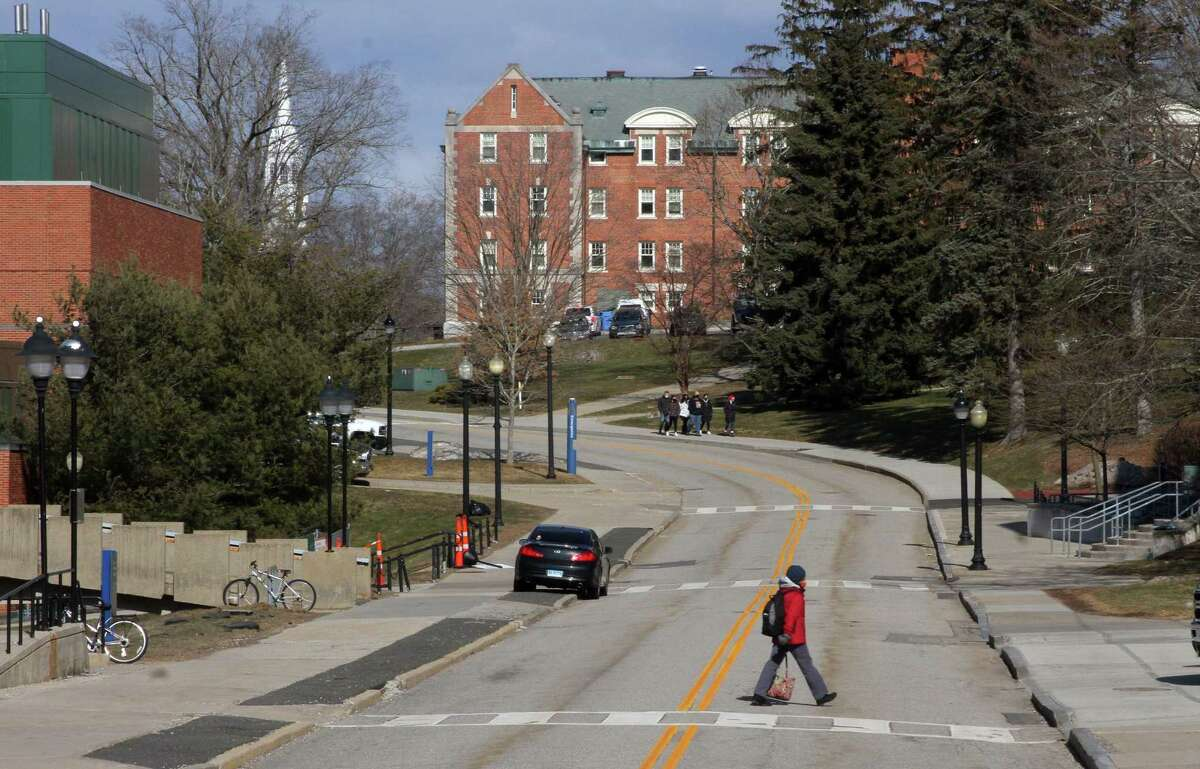 A view of UConn campus in Storrs, Conn., on Thursday March 4, 2021. A gathering of 150 to 200 college-aged individuals about a mile from the Storrs campus was broken up by police on Saturday, March 6, 2021, for COVID-19 violations, state police said.