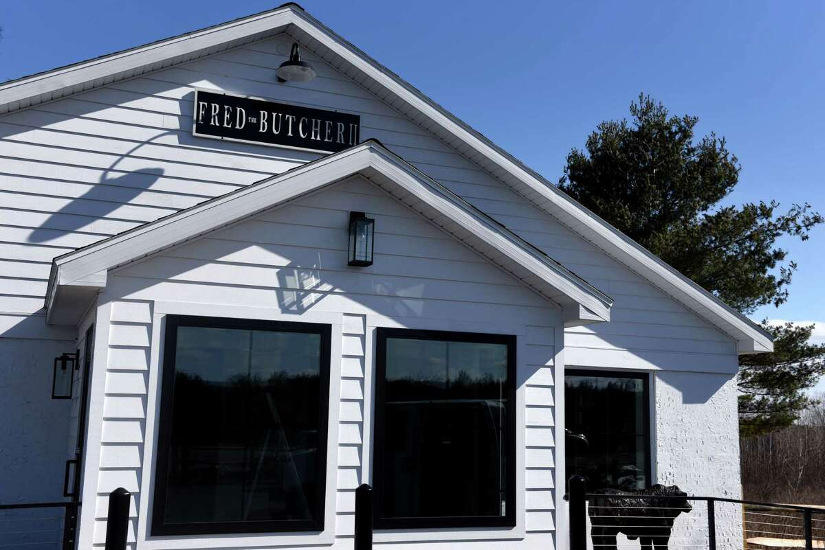 Exterior of the new Fred the Butcher store in former Falvo's Meat Market on Route 85A on Thursday, March 4, 2021, in New Scotland, N.Y. The store is a joint venture of Fred the Butcher's owners, David MacVane, co-owner since 2014, and Alexander Buonanno, son of the butcher shop's eponymous founder. Falvo's was open from 1974 until earlier this year when the owner retired. (Will Waldron/Times Union)