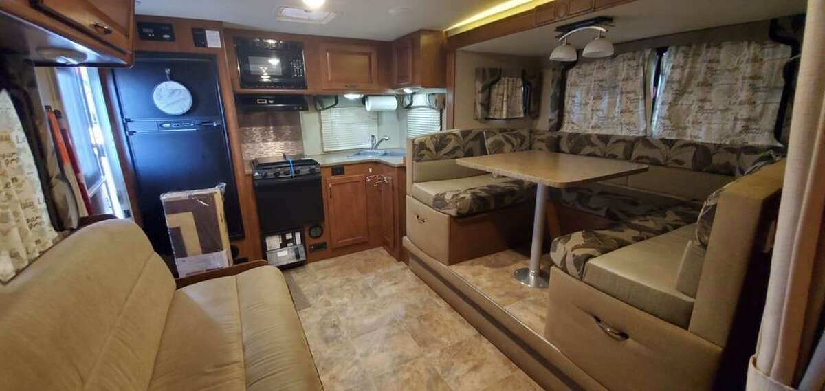 The Caletkas' RV had a very traditional and date interior before the remodel.