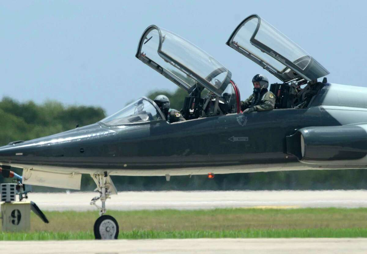 A T-38 Talon jet trainer crew taxis alongside a runway at Joint Base San Antonio-Randolph in this 2018 photo.