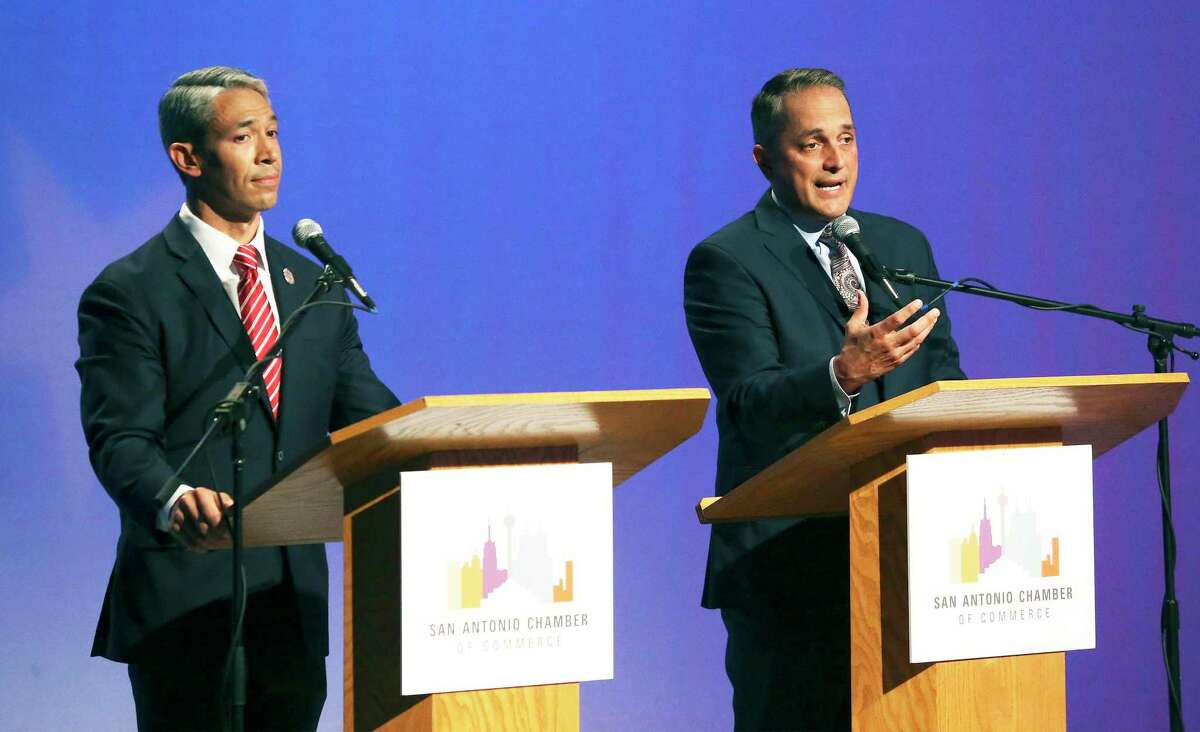 Mayor Ron Nirenberg and Greg Brockhouse face off in a debate two years ago. Once again, voters have a choice to make for mayor.