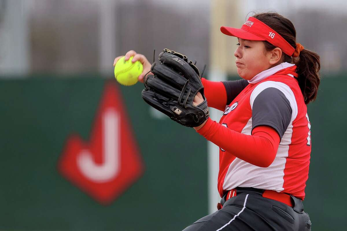 Judson's Emily Ayala winds up for a throw to the plate during their game with Brennan in the 2021 East Central/Judson Varsity Softball Tournament at Judson on Friday, Feb. 26, 2021. Judson beat Brennan 9-0.
