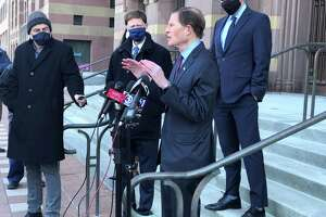 New Haven Mayor Justin Elicker, U.S. Sens. Chris Murphy and Richard Blumenthal, and a representative of U.S. Rep. Rosa DeLauro lauded the potential impact of the American Rescue Plan Act Monday at City Hall.