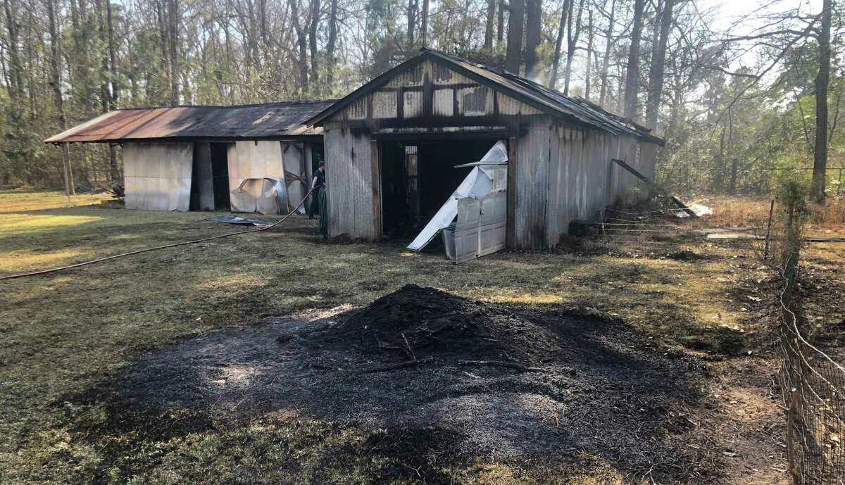 A barn house is seen after suffering fire damage from an outdoor burning over the weekend in Montgomery County.