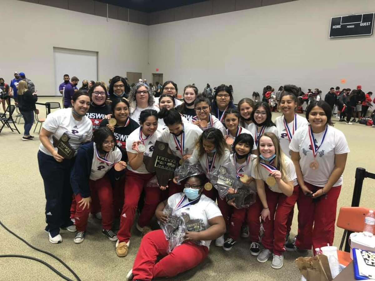 The Plainview girls powerlifting team celebrates their Region 1 Class 5A championship victory this past weekend. The Lady Bulldogs have advanced to the state meet next week.