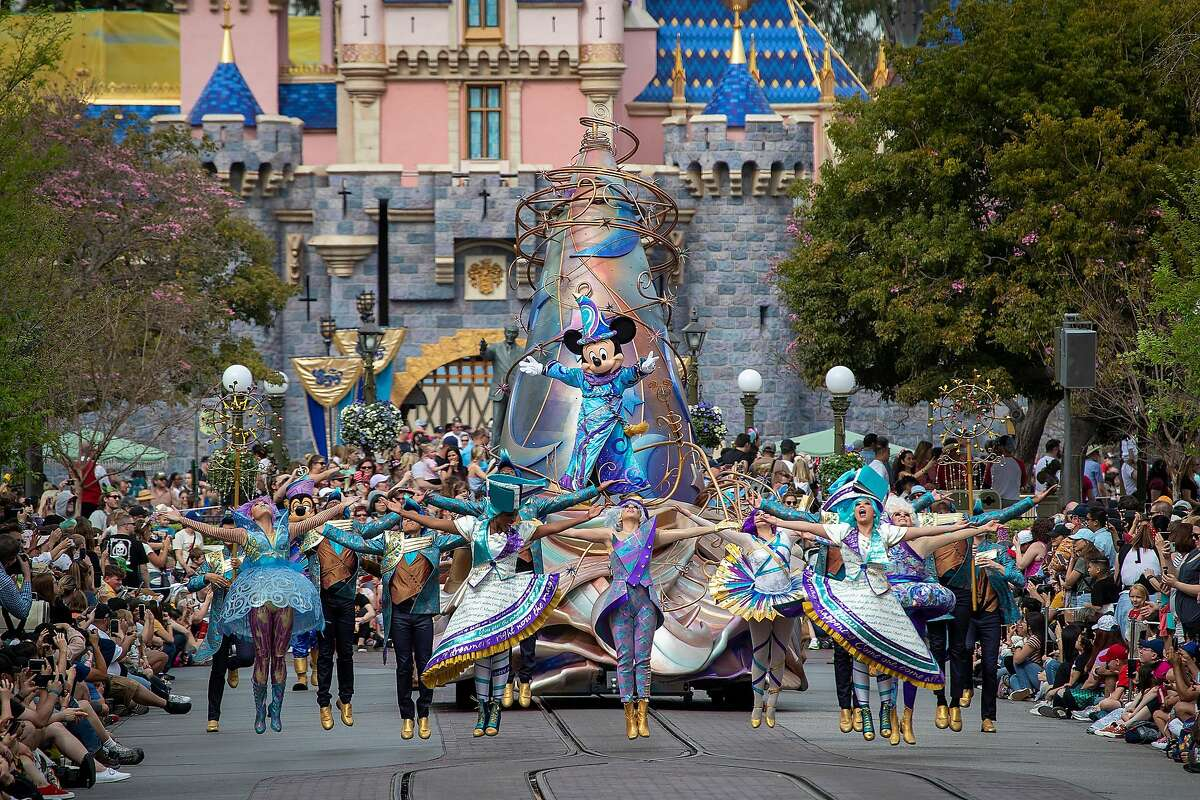 A parade at Disneyland in February 2020. California's amusement parks could reopen as soon as April 1.