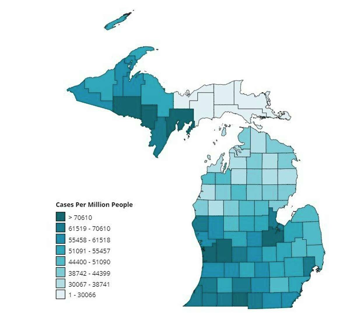 There have been 7,969 vaccine doses administered in Manistee County, according to the Michigan Department of Health and Human Services. (Screenshot/MDHHS website)