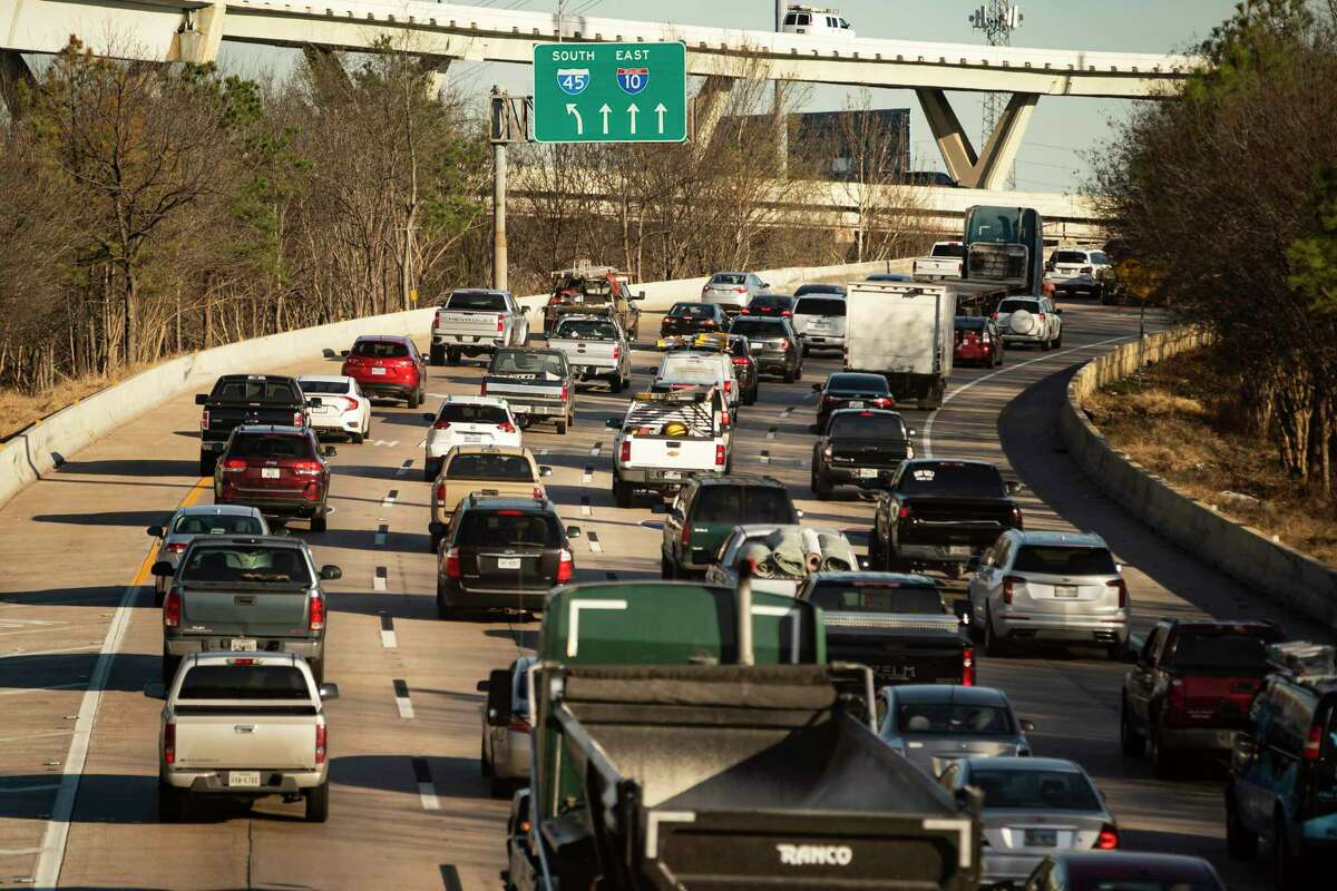 Traffic travels eastbound towards downtown Houston near Houston Avenue along Interstate 10 on March 3, 2021. Based on an analysis released March 9, Houston had the eight-worst traffic in America last year.