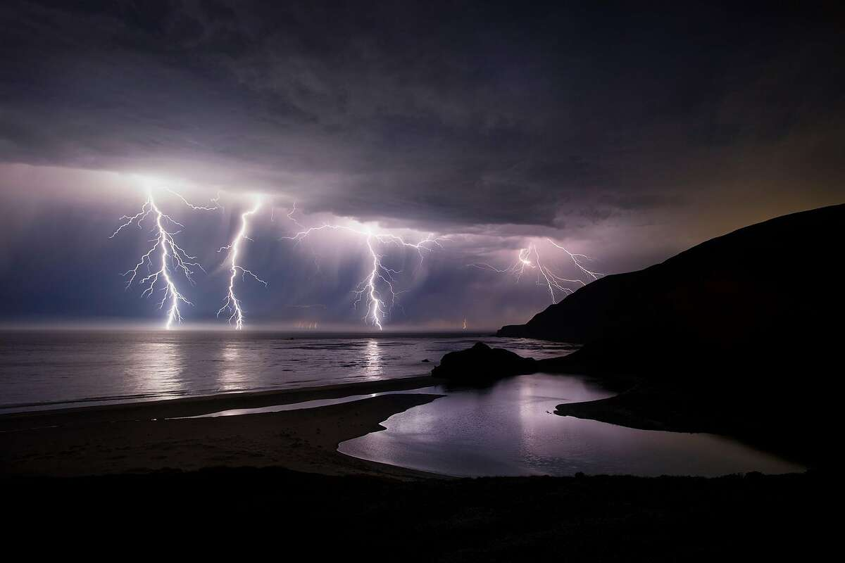 Lightning along the coast near Little Sur River in Big Sur, Calif. on August 16, 2020.