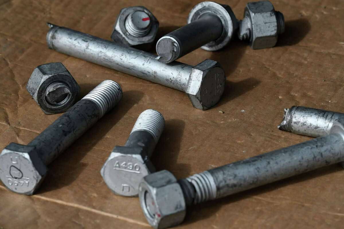 Defective bolts used in construction of the Gov Mario M. Cuomo Bridge during its assembly at the Port of Coeymans are displayed on Saturday, March 6, 2021, in Colonie. Some of the bolts would snap under the first stage of torquing. Many were delivered to the job site with cracks already visible in the heads. (Will Waldron/Times Union)